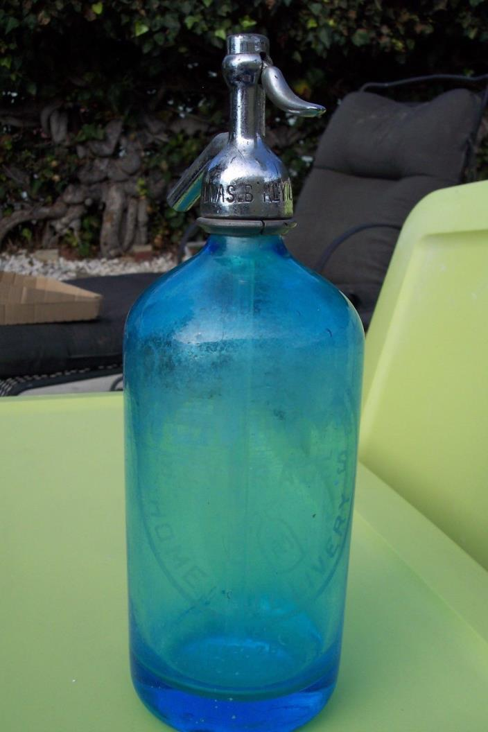 Vintage Blue Czecho-Slovakian L.ALMAS.BKLYN.57 Seltzer Bottle