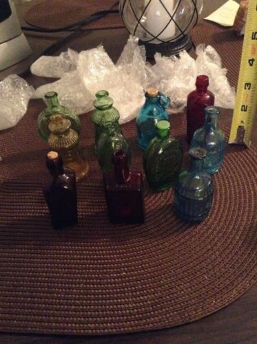 Vintage Miniature Colored Bottle lot Wheaton Bottle Made In Taiwan Jefferson +