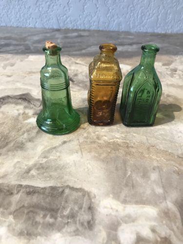 Vtg Lot of 3 Miniature Wheaton Elixir Bitter Bottle