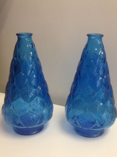 Vintage Pair Of Aqua Blue Wheaton Glass Bottles Embossed Designs 9 1/2
