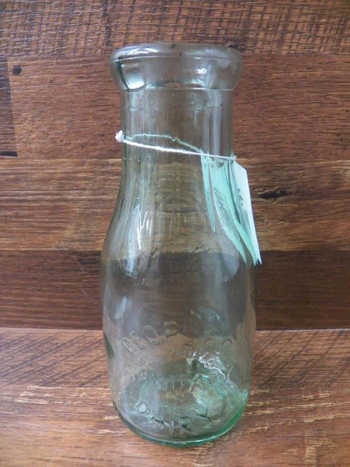 New Vintage-Look Peoples Registered Sanitary Dairy Milk Bottle One Pint Green