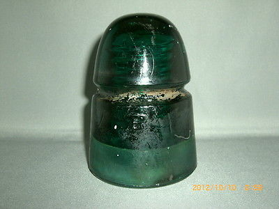 Vintage Large Brookfield B Beehive Forest Green Glass Insulator- Rare