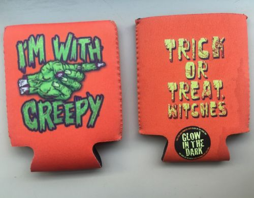 Lot Of 2 Haloween Custom Party  Decoration Coozie Beer Bottle Holder Insulator