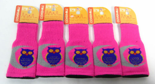 5 Cover-All Beer Can Bottle Sweater Koozie One Size PINK with Owl lot ~
