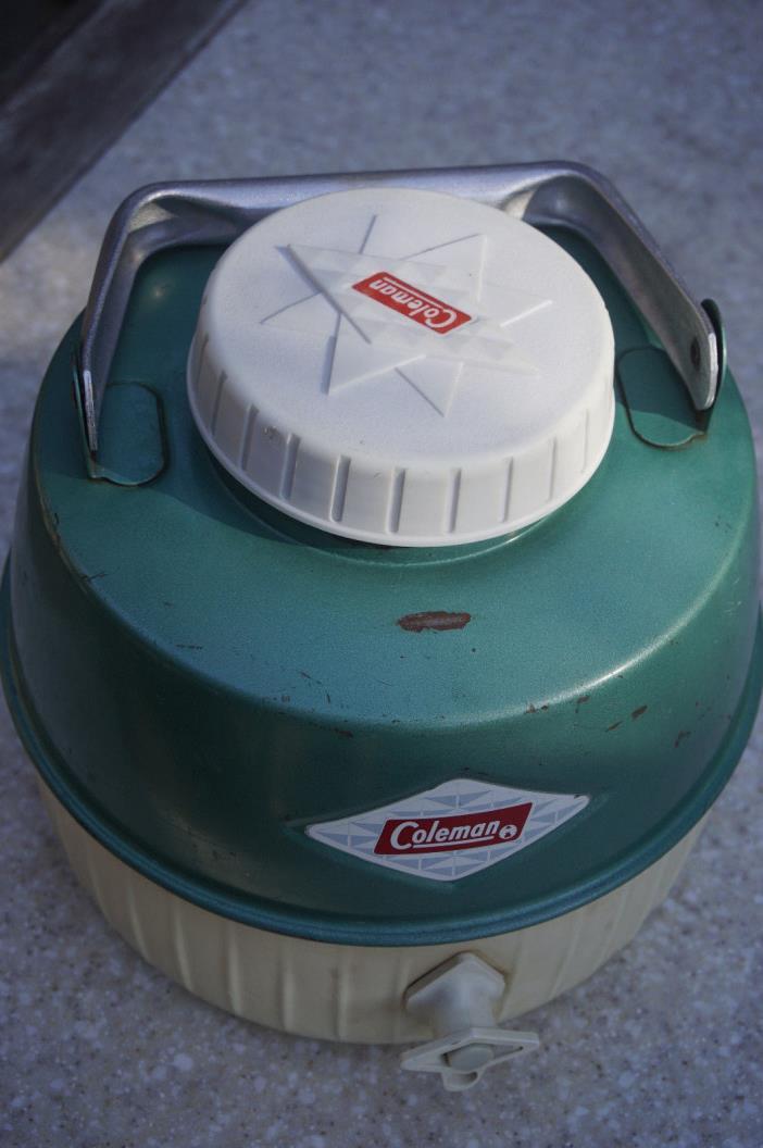 Coleman vintage water jug diamond logo cooler aqua blue metaI camping picnic