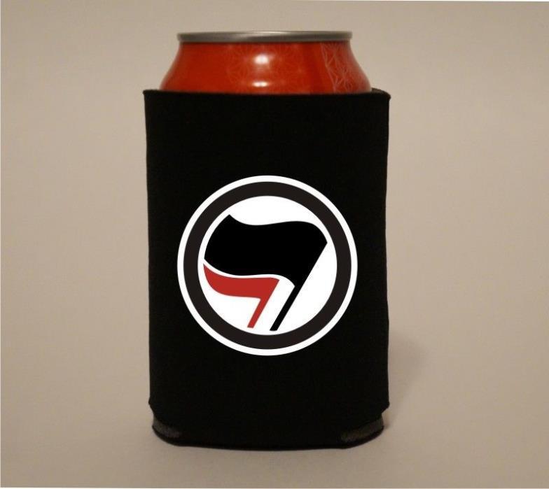 ANTIFA Flags Symbol Anti Fascism Koozie Coozie Beer Can Holder Cooler