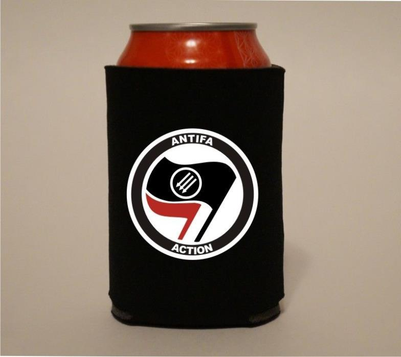ANTIFA ACTION Flags Symbol Anti Fascism Koozie Coozie Beer Can Holder Cooler