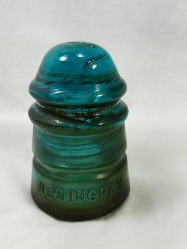 Vintage Hemingray No 12 Aqua (Blue Green) Glass Insulator