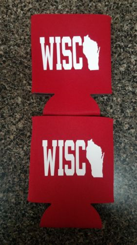2 Wisconsin WISCO Can Cooler Coozie Koozie