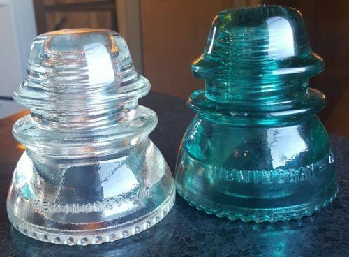 2 Hemingray- 42 Glass Insulators Made in U.S.A. Aqua/Clear Round Drip Points