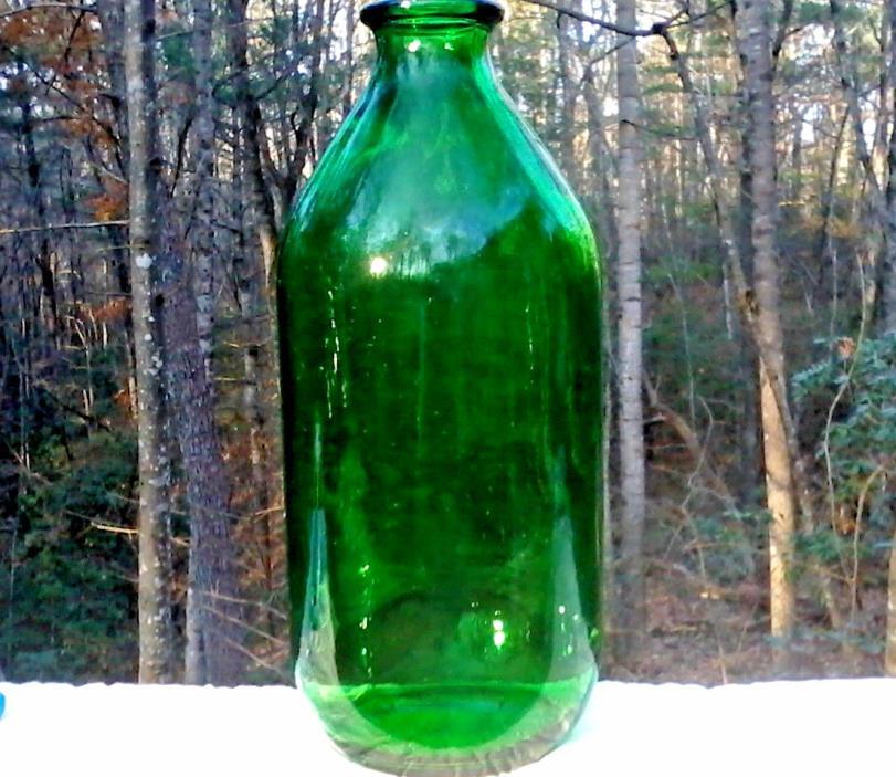 Vintage 2 liter Green Glass Bottle with Cap
