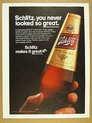 1979 Schlitz Beer 'Introducing' New Bottle photo vintage print Ad