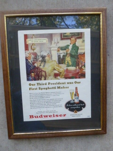 Budweiser Beer Magazine Original 1948 Print Ad Thomas Jefferson Spaghetti