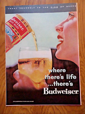 1956 Budweiser Beer Ad Where There's Life there's Budweiser