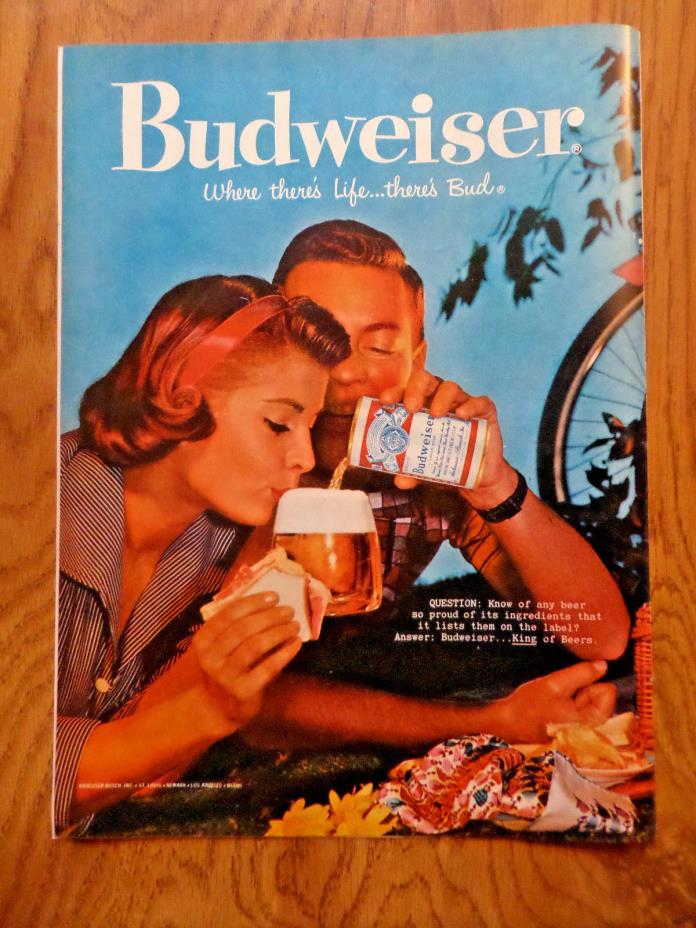 1959 Budweiser Beer Ad - Couple Bicycle Picnic Break & Bud 1959 Wrisley Gift Ad