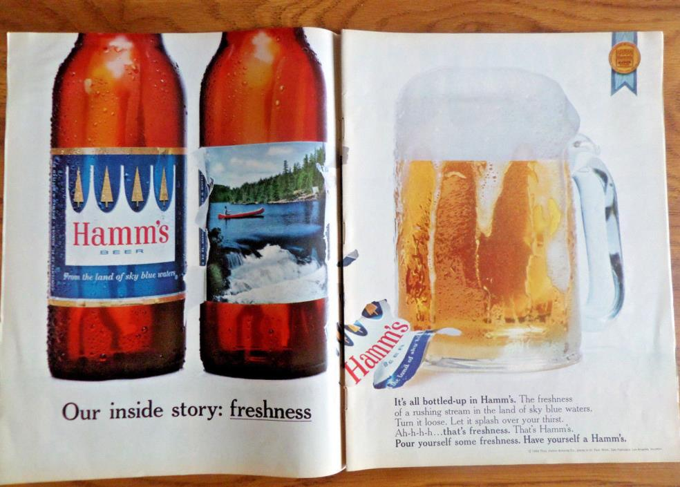 1965 Hamm's Beer Ad Our Inside Story Freshness