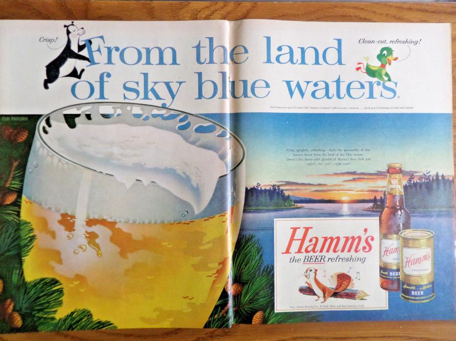 1956 Hamm's Beer Ad From the Land of Sky Blue Waters the Hamm's Bear