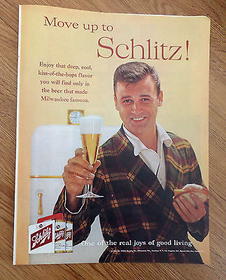 1960 Schlitz Beer Ad Joys of Good Living Move Up to Schlitz