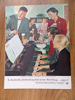1953 Beer Belongs Ad  #78 Four Hands on the Piano Keyboard by Crockwell