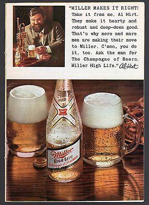 1969 MILLER BEER AD~AL HIRT~TRUMPET~BOTTLE~MUG~PRINT PROMO