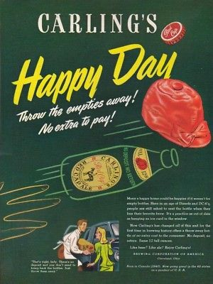 1947 Carling's Red Cap Ale HAPPY DAY Cleveland OH Ad MMXV
