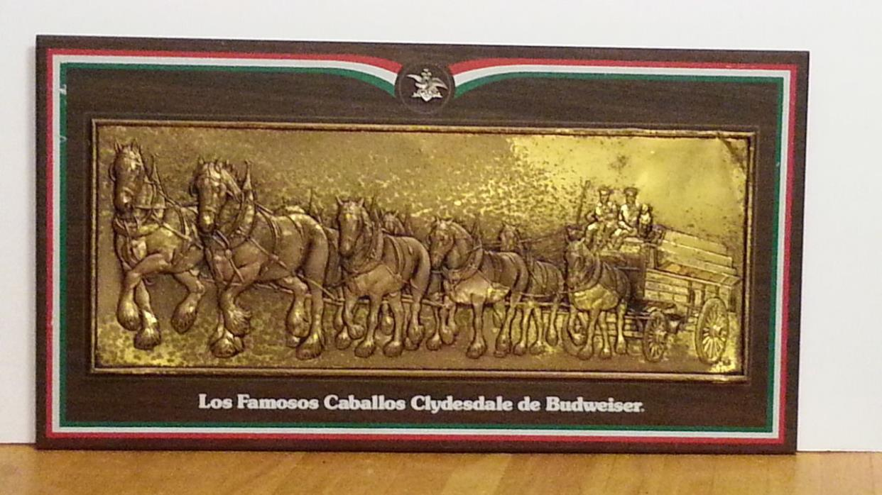 Los Famosos Caballos Clydedale de Budweister Spainish Sign Vintage