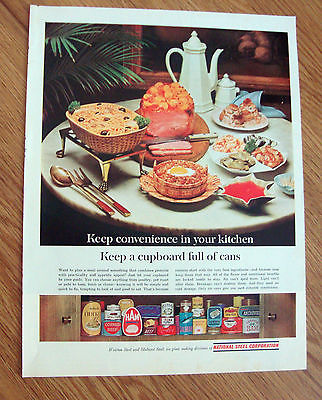 1963 National Steel Can Ad Keep Convenience in Your Kitchen