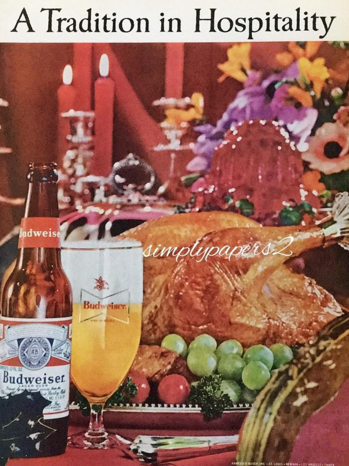 1963 Budweiser Beer A Tradition In Hospitality Turkey Holiday Photo Print Ad