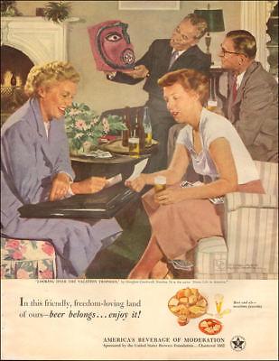 1951 vintage beverage AD BEER , US Brewers Foundation ART by Crockwell 110617