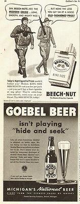 1942 WW2 era AD GOEBEL BEER & BEECH NUT Cigarettes 2 for 1 ! -012615