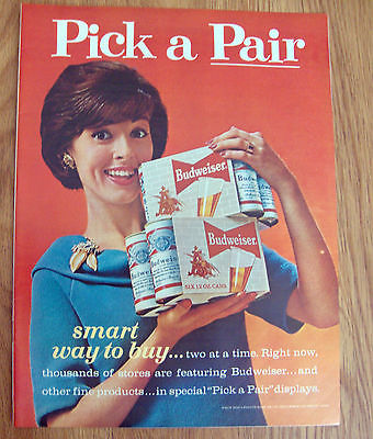 1963 Budweiser Beer Ad   Pick A Pair Smart Way to Buy Two at a Time