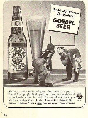 1942 WW2 era beverage AD GOEBEL BEER Cute Cartoon 3d figures 022016