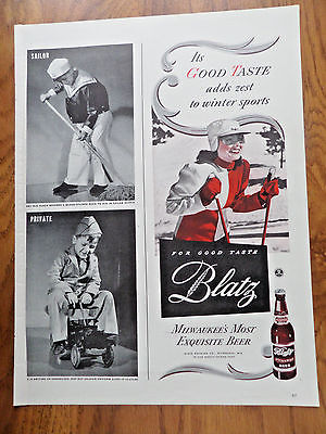 1943 Blatz Beer Ad  Skiing Theme