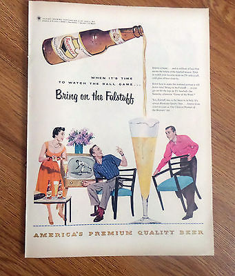 1955 Falstaff Beer Ad  Watching the Baseball Game on TV Television