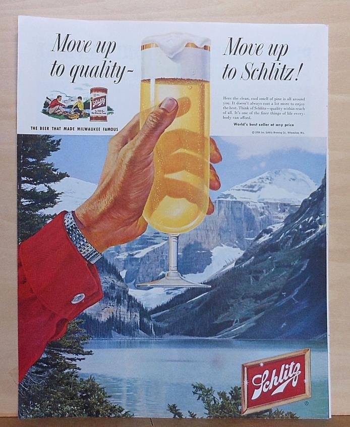 1958 magazine ad for Schlitz Beer -frosty glass of beer with mountain background