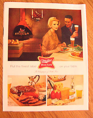 1960 Miller High Life Beer Ad Couple Dining Theme