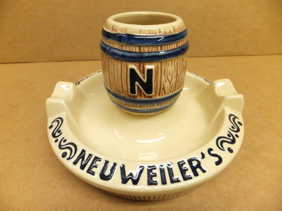 Vintage Neuweiler's Beer Ceramic Ashtray Matchstick Toothpick Holder Neuweiler