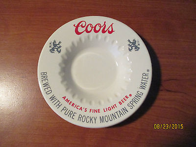 COORS BEER Advertising CERAMIC ASHTRAY Pure Rocky Mountain Spring Water