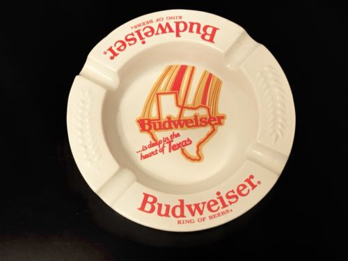 Vtg Budweiser Beer Ashtray Deep In The Heart Of Texas Barware Diner Haeger USA
