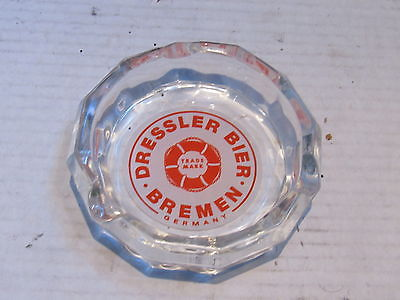 Old German Beer Glass Ashtray - Dressler Export Bier Bremen Trade Mark mint VGC