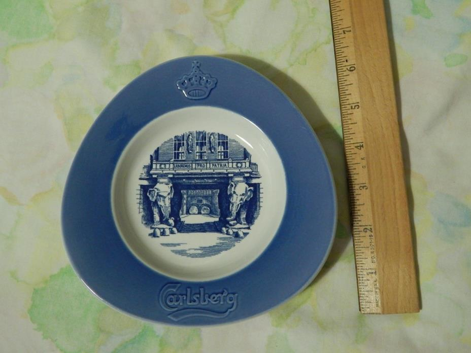 Carlsberg Beer ~Brewed in Copenhagen~ Royal Blue Ceramic ASHTRAY_DISH_Wall Decor
