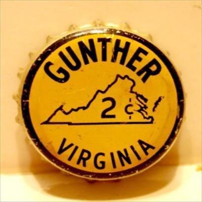 Gunther Of Virginia  Beer Bottle Cap Tax 2 Cents