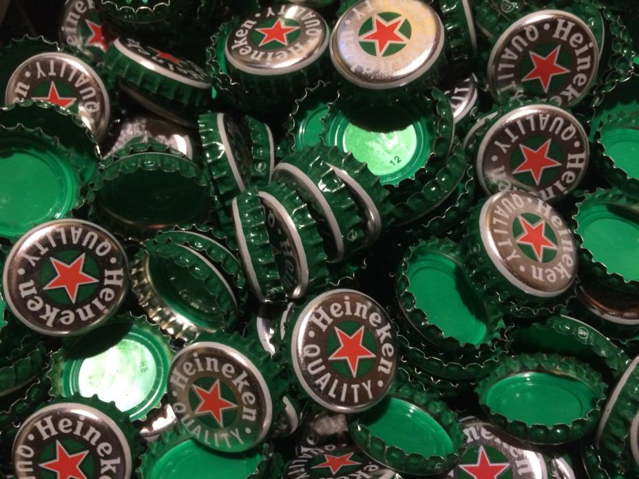 Lot of 100 Heineken Bottle Caps - Green/ Silver with Red Star - No Creasing