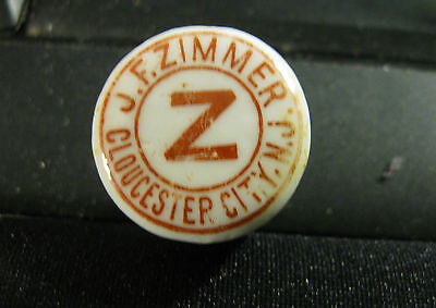 PRE-PRO J. F ZIMMER BEER - SODA - WHISKEY PORCELAIN BOTTLE CAP GLOUCSTER CITY NJ