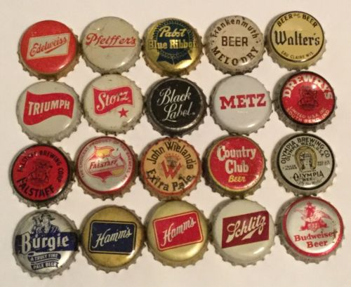 LOT 20 diff BEER BREWERY BREWING CORK BACK BOTTLE CAP EDELWEISS STORZ HAMMS METZ