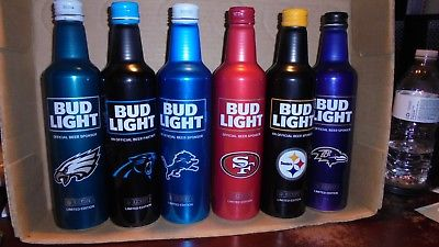 6 BUD LIGHT ALUMINUM  2017 KICK OFF BOTTLES & 3 BUD BOTTLES