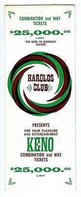 Harold's Club Keno Instructions Book Reno Nevada