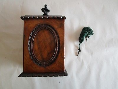 RARE ANTIQUE WALNUT BURL CARD PRESS WITH KEY PRE-1900 == A MUST SEE