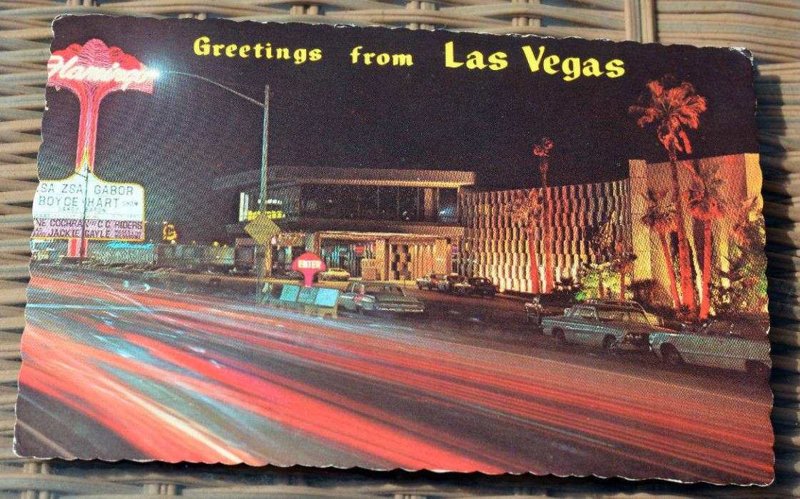 LAS VEGAS Flamingo Hotel @ Night On the Strip Postcard 1970 UNUSED Zsa Zsa Gabor