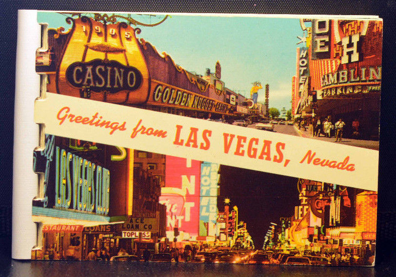 1950s 1960s VINTAGE Las Vegas Mini Postcard Book GREETINGS FROM LAS VEGAS 11 Pgs